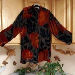 Chico's Design Silk & Velvet Sheer Blouse 3X